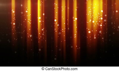 gold particles flying in light beams. computer generated...