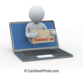 3d person from laptop with contact us envelop - 3d...