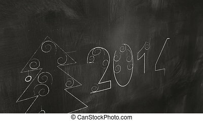 drawing 2014 new year greetings on blackboard. Computer...