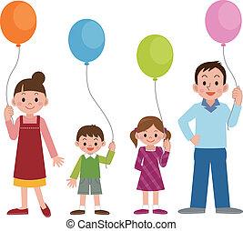 balões, famílias