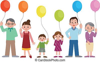 famílias, balões