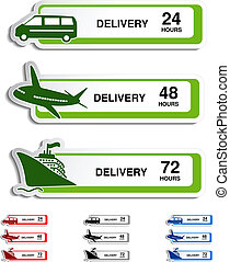 Vector shipping, delivery stickers - car, ship, plane -...