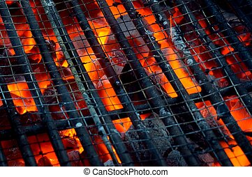 Hot coals in a barbeque