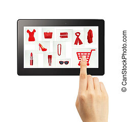 Online gifts ordering - Online Christmas shopping concept...