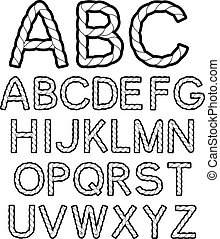 Vector black white rope font alphabet - illustration