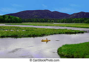 kayaking in summer landscape in northeast in unspoiled...