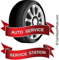 Vector symbol of auto service - sign, icon, sticker -...
