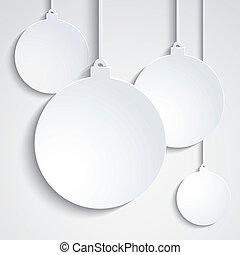 Background with white paper Chrismas balls