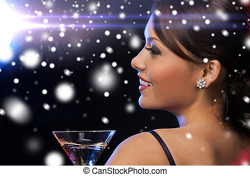 woman with cocktail - luxury, vip, nightlife, party,...