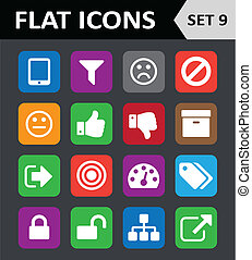 Universal Colorful Flat Icons. Set 9.
