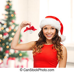 woman in santa helper hat with jingle bells - christmas,...