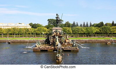 Neptune fountain in petergof park Saint-Petersburg Russia