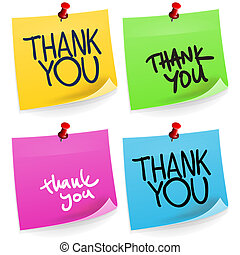 Thank You Sticky Note - Colorful office paper sticker set...