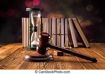 Law concept - Mallet, legal code and scales of justice. Law...