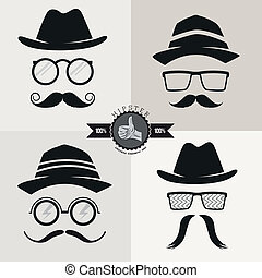 Hipster Glasses, Hats & Mustaches - vector illustration.