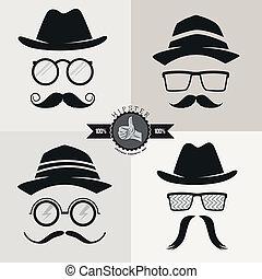hipster, anteojos, sombreros, y, bigotes