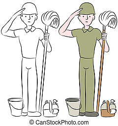 Army Recruit Saluting - An image of a housecleaning army man...
