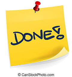 Done Sticky Note - Yellow Sticky Note with Done text...
