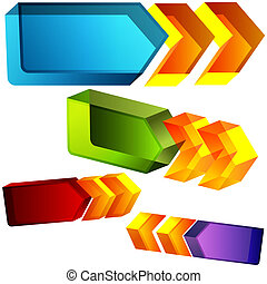 3d Directional Arrows - An image of a set of 3d directional...