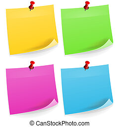 Four Sticky Notes - Set of paper reminders isolated on white...