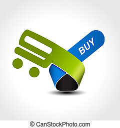 Vector symbol of shopping cart, trolley, item, button - EPS...