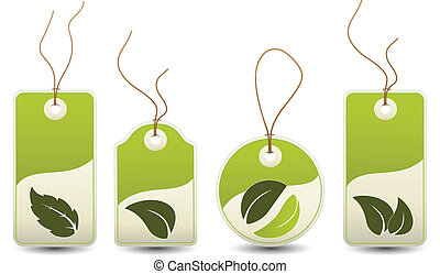 Vector natural tags with leaf - nature icon