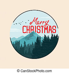 Christmas Mountain Landscape - Vector illustration