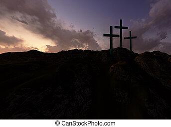 três, cruzes, pôr do sol
