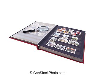 Stamp Album Isolated - Stamp Album and Magnifying Glass -...