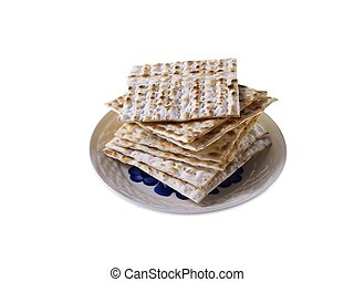 Matzoh - Jewish Passover Bread On Plate Isolated on white...