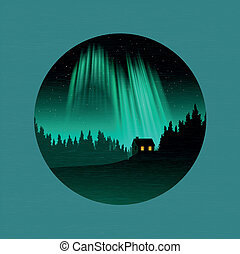 The Northern Lights - A forest and house silhouetted by the...