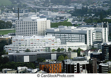 Aerial view of Auckland City Hospital in Auckland NZ -...