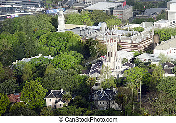 Aerial view of University of Auckland New Zealand NZ -...