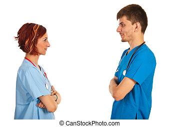 conversación, medicos, teniendo, joven