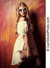 country styles - Charming blonde girl in romantic white...