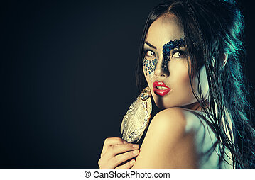 fish art - Portrait of an asian model with fantasy make-up....