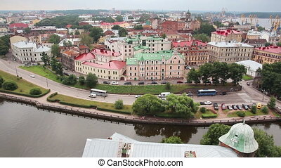 Vyborg in Russia - view from height of medieval tower of St...