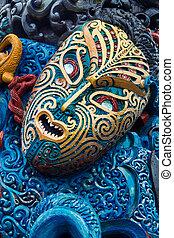 maorí, tallado, colorido, cara