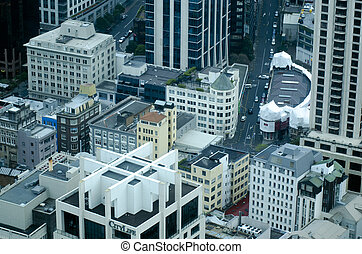 Aerial view of apartments buildings in Auckland downtown