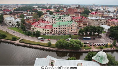 Vyborg in Russia - view from height of medieval tower of St....