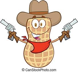 Smiling Peanut Cowboy Cartoon Mascot Character With Guns
