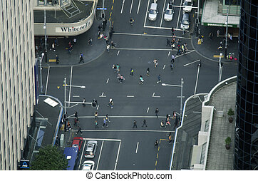 Aerial view of traffic on Queen street in Auckland New...