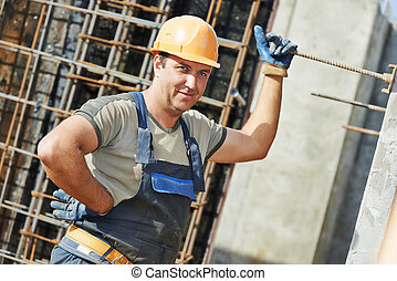 Portrait of construction worker - Portrait of builder worker...