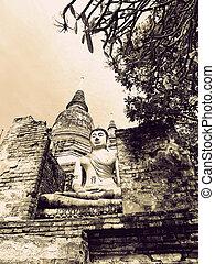 Buddha statue in Wat Yai Chai Mongkol- Ayuttaya of Thailand...