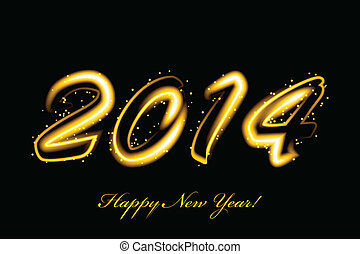 Vector 2014 new year glowing