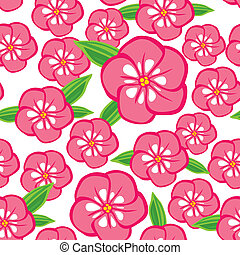 Phlox flowers seamless pattern - Seamless pattern with pink...