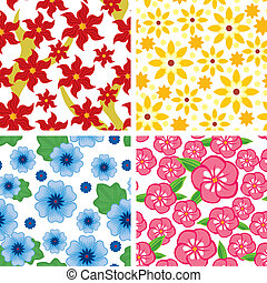 Set floral seamless pattern - Seamless pattern with...