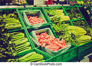 Supermarket retro looking - Vegetables at a supermarket,...