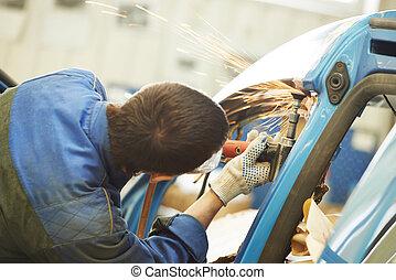 reparador, molienda, metal, cuerpo, coche