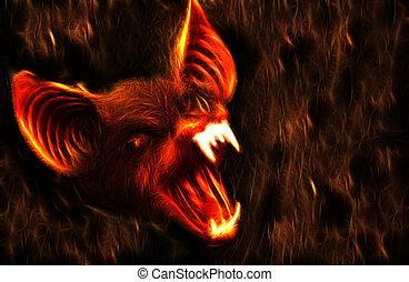 Frightening Bat - Spooky Halloween Creature.